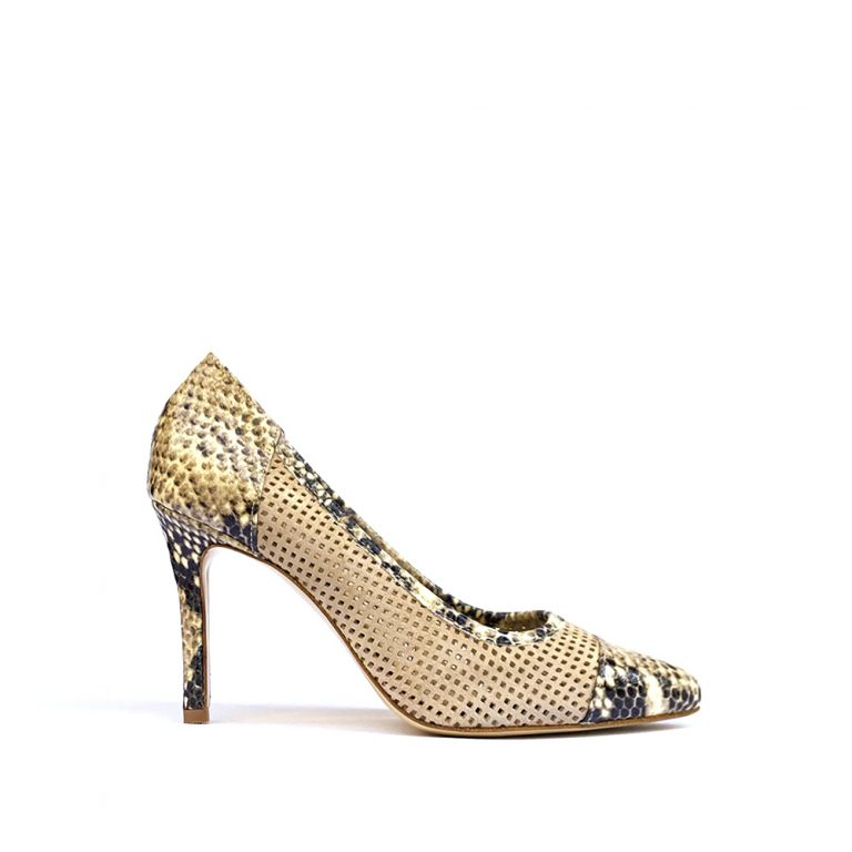 perforated suede pumps