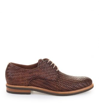 brown hand woven derby