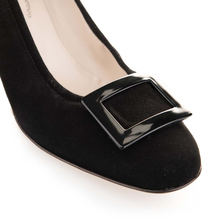 black suede mid heel pumps