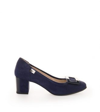 navy suede mid heel pumps