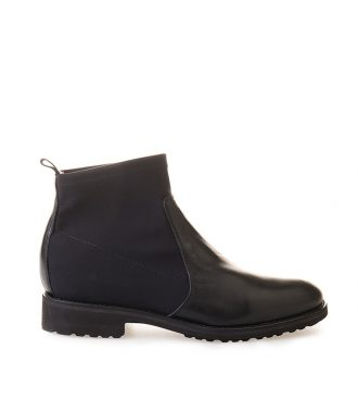 fabric and nappa ankle boots