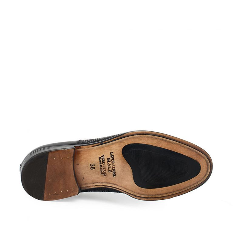 black smooth and woven calfskin oxford