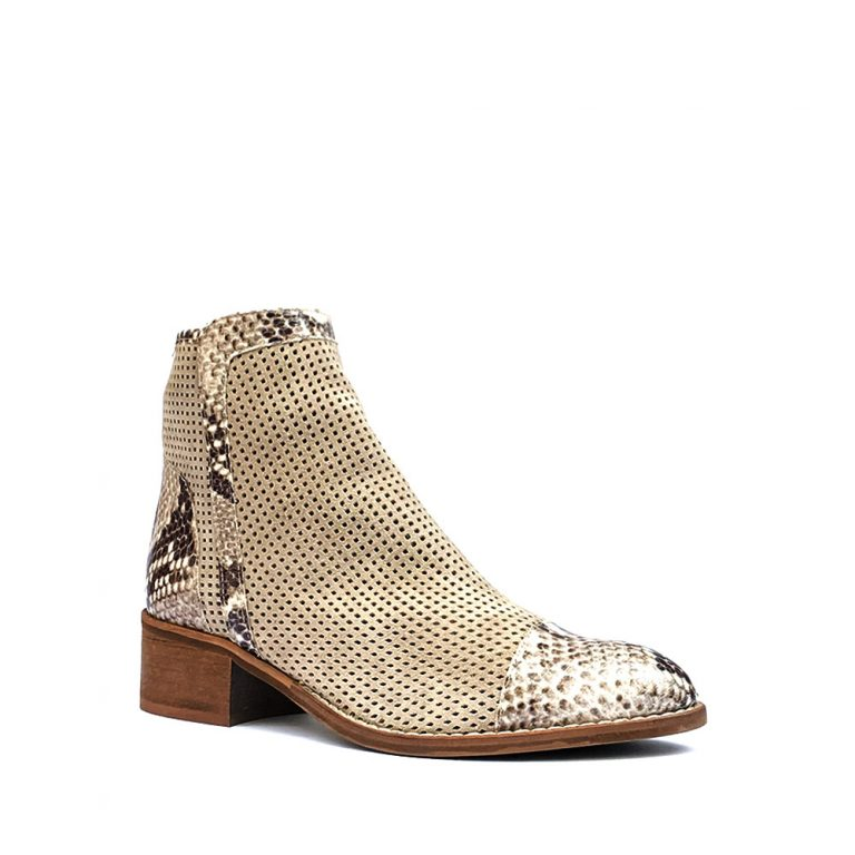 perforated suede ankle boots