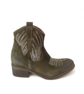 green split calfskin texan boots