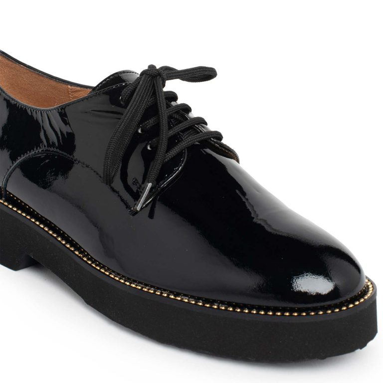patent leather lace ups
