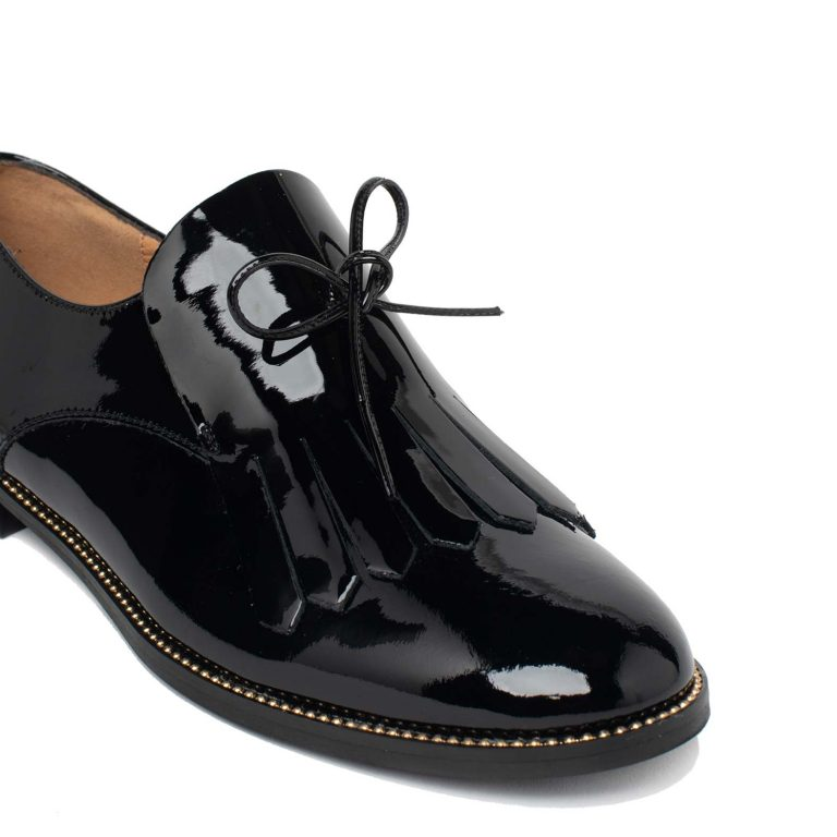 patent leather lace ups with fringe