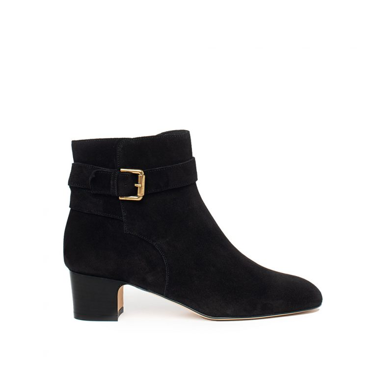 black suede buckle ankle boots