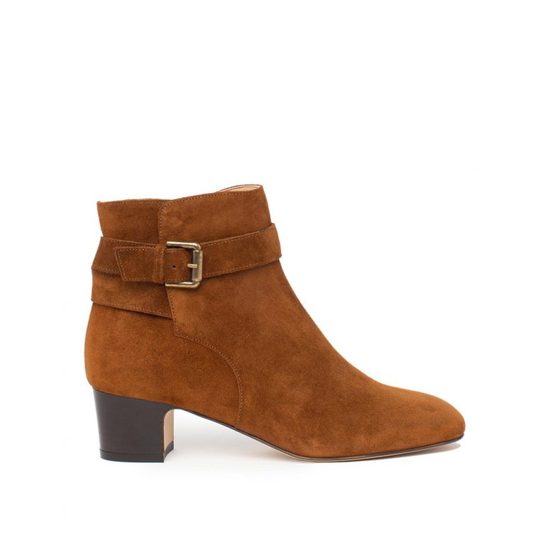 brown suede buckle ankle boots