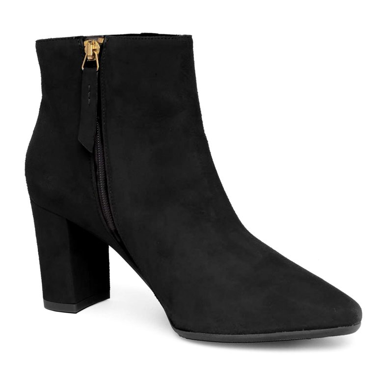 black suede zip ankle boots