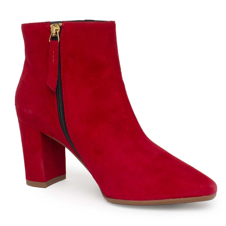 red suede zip ankle boots