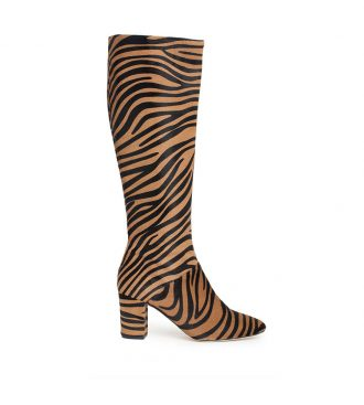 tiger print high boots