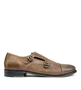 perforated calfskin double monks
