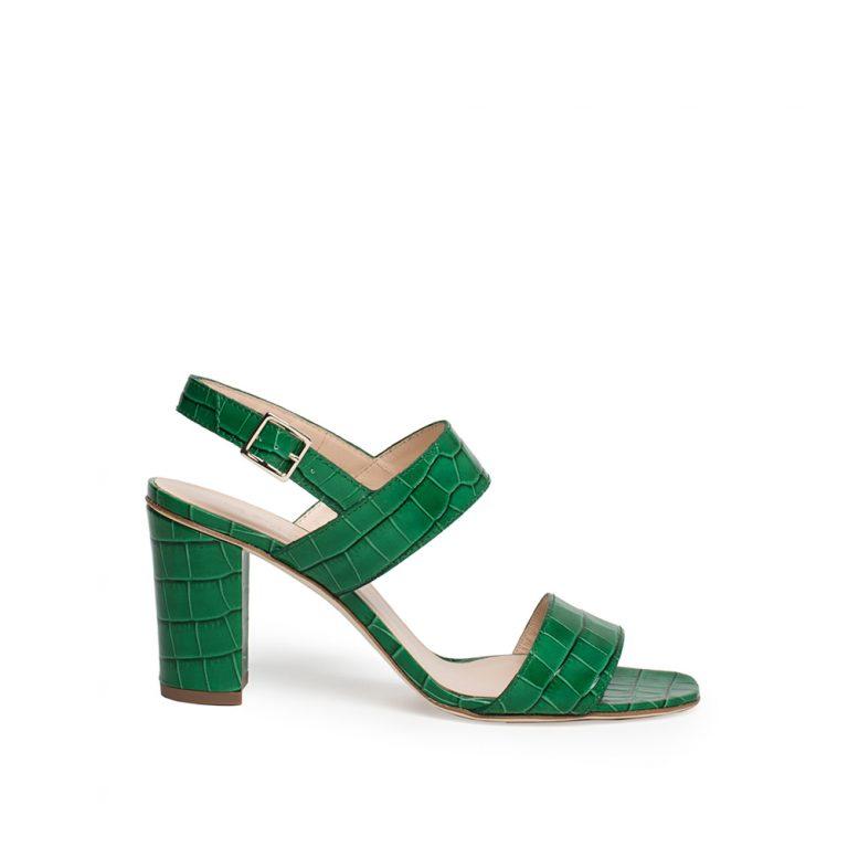 crocodile print calfskin mid-heel sandals