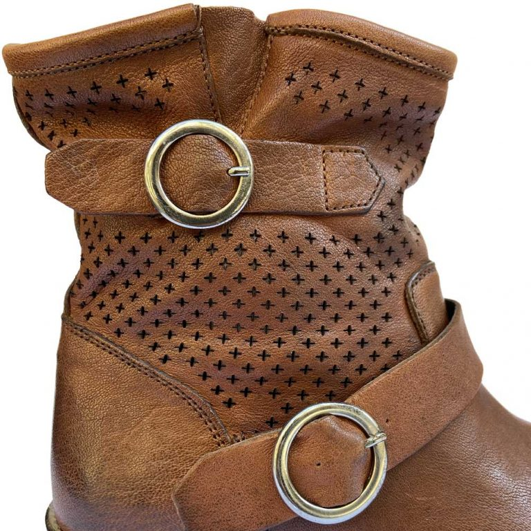 perforated double-buckle ankle boots